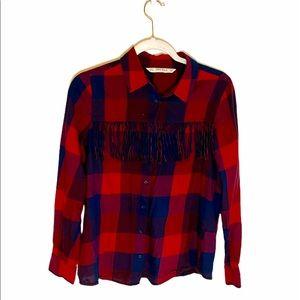 Zara Basic Buffalo Plaid Fringe Button Down Shirt